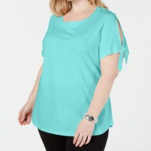 Karen Scott Scoop Neck Slit Sleeve T-Shirt